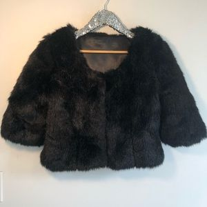 Vintage Black Faux Fur Cropped Jacket